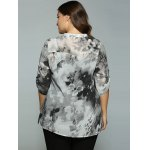 Plus Size Adjustable Sleeve Ink Painting Blouse for sale