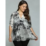 cheap Plus Size Adjustable Sleeve Ink Painting Blouse