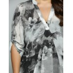 best Plus Size Adjustable Sleeve Ink Painting Blouse