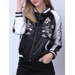 cheap Raglan Sleeves Zipped Embroidered Jacket