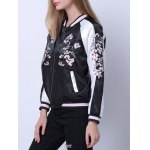 Raglan Sleeves Zipped Embroidered Jacket for sale