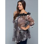 Plus Size Floral See Through Blouse deal