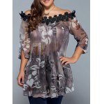 Plus Size Floral See Through Blouse