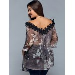 best Plus Size Floral See Through Blouse