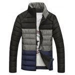 Stand Collar Color Block Spliced Zip-Up Down Jacket