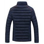 cheap Stand Collar Corduroy Spliced Zip-Up Down Jacket