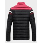 cheap Stand Collar Color Block Splicing Stripe Zip-Up Down Jacket