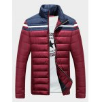 Stand Collar Color Block Splicing Stripe Zip-Up Down Jacket 11027