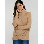 cheap Turtleneck Hollow Out Pullover Sweater