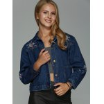 cheap Double Pockets Floral Embroidery DenimJacket