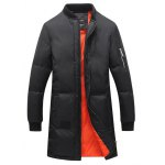 Breast Pocket Rib Cuff Zippered Quilted Coat 11027