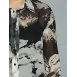 Plus Size Ink Painting Sheer Shirt for sale