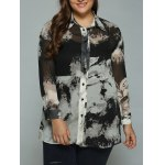 Plus Size Ink Painting Sheer Shirt