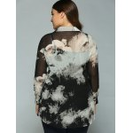 Plus Size Ink Painting Sheer Shirt deal
