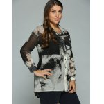 cheap Plus Size Ink Painting Sheer Shirt