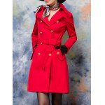 Double-Breasted Back Slit Belted Trench Coat