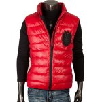 Stand Collar Patch Design Zippered Quilted Waistcoat