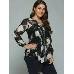 cheap Plus Size Geometric Ink Painting Blouse