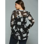Plus Size Geometric Ink Painting Blouse deal