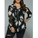 Plus Size Geometric Ink Painting Blouse