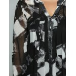 best Plus Size Geometric Ink Painting Blouse