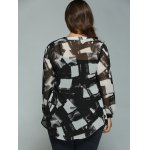 Plus Size Geometric Ink Painting Blouse for sale