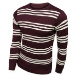 cheap Long Sleeves Striped Pullover Knitwear