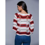 best Round Neck Striped Ripped Sweater