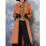 cheap Slim Back Slit Buttoned Wool Coat