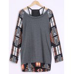 cheap Lace Up Geometric Print Sweatshirt  with Tank Top