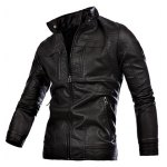 Stand Collar Zippers Embellished Moto PU-Leather Jacket
