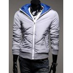 Rib Trim Zippered Hooded Quilted Jacket