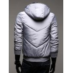Rib Trim Zippered Hooded Quilted Jacket deal