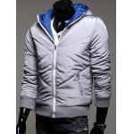 cheap Rib Trim Zippered Hooded Quilted Jacket