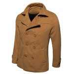 cheap Turn-Down Collar Double-Breasted Wool Coat