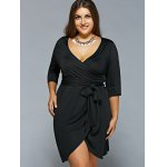 Plunging Neckline Belted Wrap Dress deal