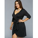 Plunging Neckline Belted Wrap Dress for sale