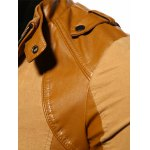 Stand Collar PU-Leather Splicing Epaulet Design Jacket for sale
