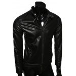 cheap Stand Collar Casual Zip-Up PU-Leather Jacket