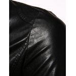 best Stand Collar Casual Zip-Up PU-Leather Jacket