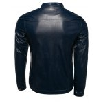 Plus Size Stand Collar Casual Zip-Up PU-Leather Jacket deal