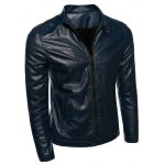 cheap Plus Size Stand Collar Casual Zip-Up PU-Leather Jacket