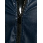 best Plus Size Stand Collar Casual Zip-Up PU-Leather Jacket