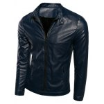 Plus Size Stand Collar Casual Zip-Up PU-Leather Jacket
