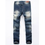 cheap Straight Leg Flag Applique Distressed Jeans