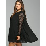 Long Sleeve Lace Spliced Pleated Plus Size Dress for sale
