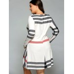Casual Plus Size Striped Long Sleeve T-Shirt Dress for sale