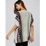 Geometric Pattern Fringed V Neck Sweater deal
