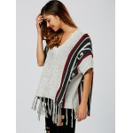 cheap Geometric Pattern Fringed V Neck Sweater