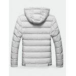 cheap Contrast Zipper Hooded Quilted Jacket